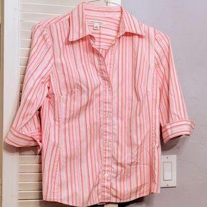 SOLD Banana Republic pink, white striped top, M
